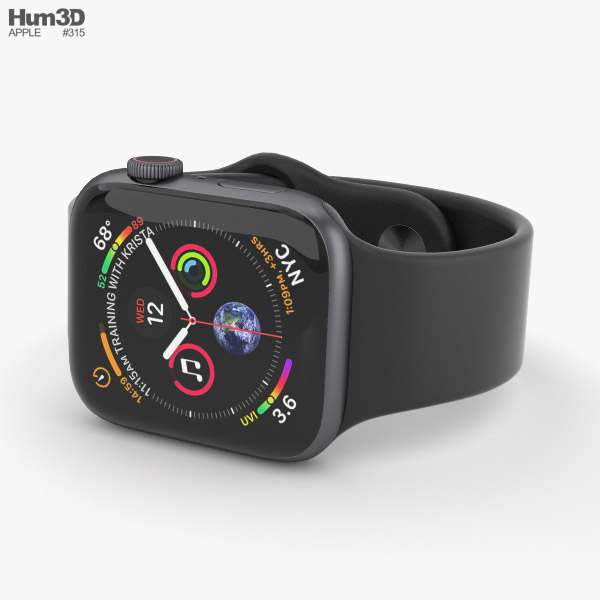 online store 8e488 457f3 Apple Watch Series 4 44mm Space Gray Aluminum Case with Black Sport Band 3D  model