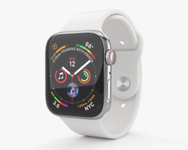 Apple Watch Series 4 44mm Stainless Steel Case with White Sport Band 3D model