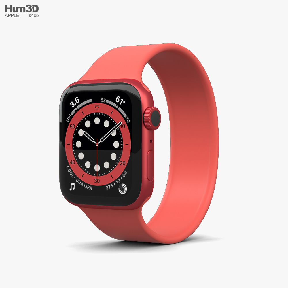 Apple Watch Series 6 44mm Aluminum Red 3d model