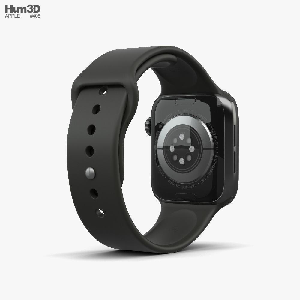 Apple Watch Series 6 44mm Stainless Steel Graphite 3d model