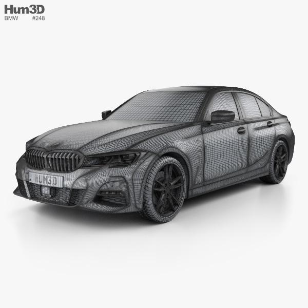 Bmw 3 Series M Sport Sedan With Hq Interior 2019 3d Model