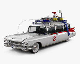 Cadillac Fleetwood 75 Ghostbusters Ectomobile with HQ interior and engine 1987 3D model