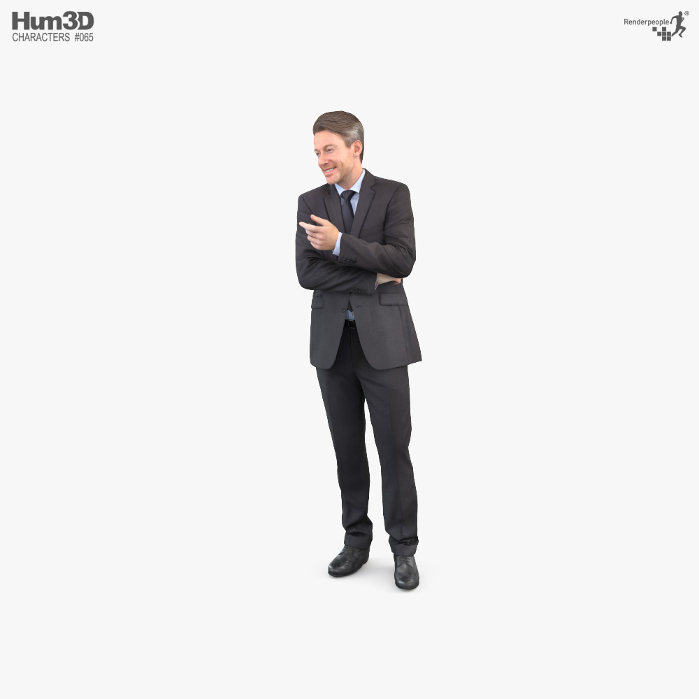 Man in a Business Suit Talking 3d model