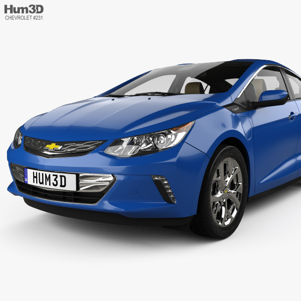Chevrolet Volt 2016: Chevrolet Volt With HQ Interior 2015 3D Model