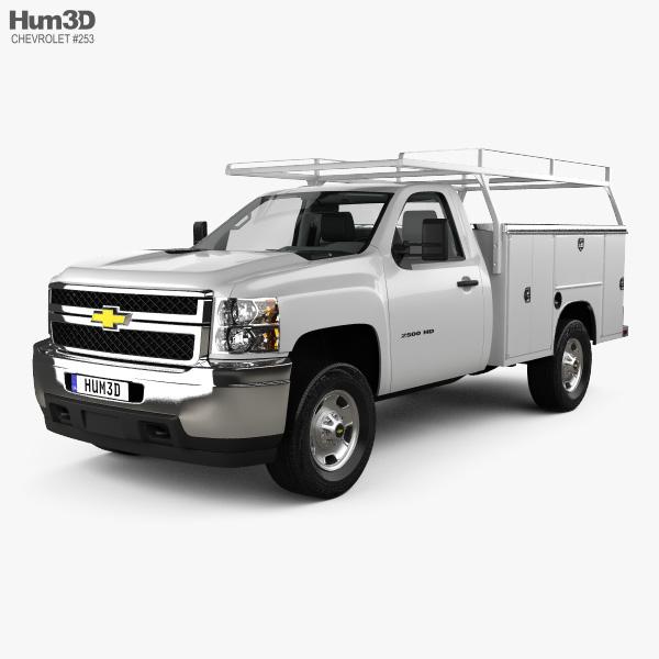 chevrolet silverado 2500hd work truck with hq interior 2011 3d model vehicles on hum3d. Black Bedroom Furniture Sets. Home Design Ideas