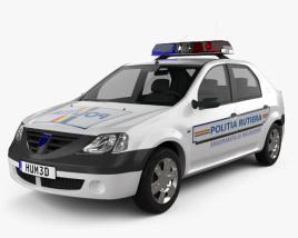Dacia Logan Police Romania sedan 2004 3D model