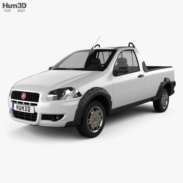 fiat strada short cab working 2012 3d model vehicles on. Black Bedroom Furniture Sets. Home Design Ideas