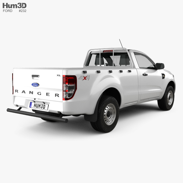 ford ranger single cab xl 2015 3d model hum3d