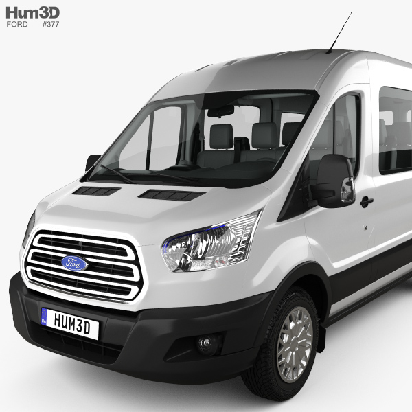 ford transit passenger van l2h2 with hq interior 2014 3d model hum3d. Black Bedroom Furniture Sets. Home Design Ideas