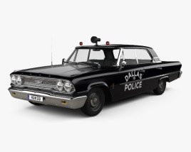 Ford Galaxie 500 Hardtop Dallas Police 4-door 1963 3D model