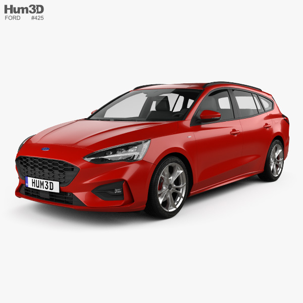ford focus st line turnier 2018 3d model vehicles on hum3d. Black Bedroom Furniture Sets. Home Design Ideas