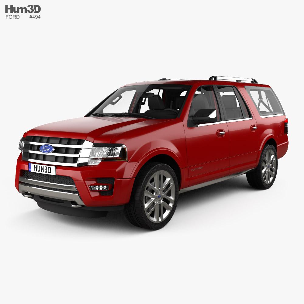 Ford Expedition EL Platinum with HQ interior 2015 3d model