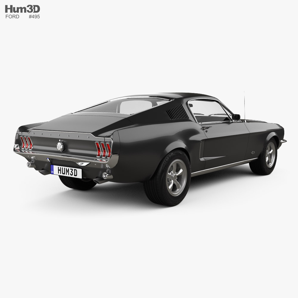 Ford Mustang GT with HQ interior 1967 3d model