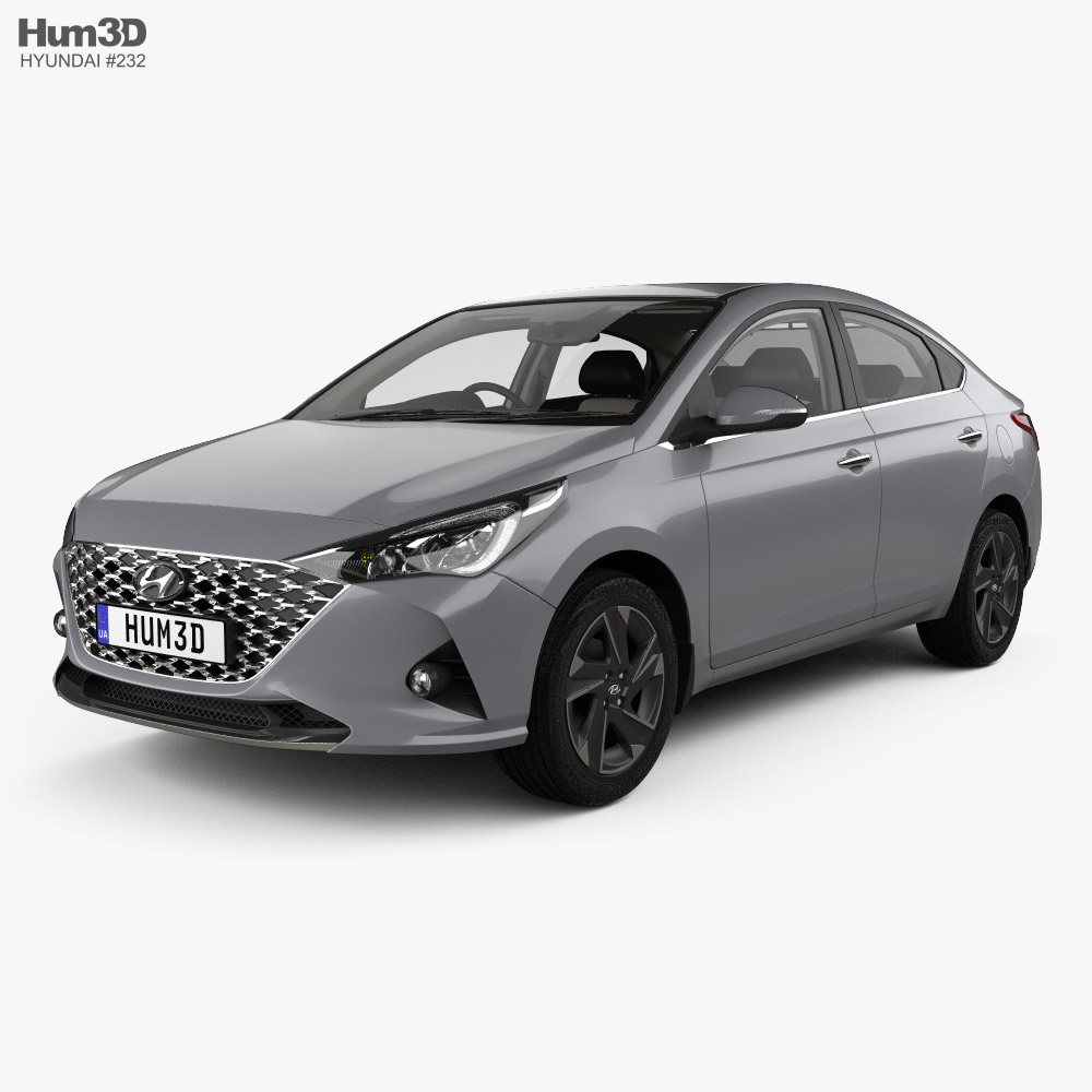 Hyundai Verna sedan with HQ interior 2020 3d model