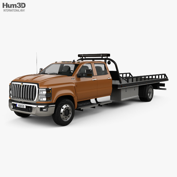 international cv crew cab rollback truck 2018 3d model