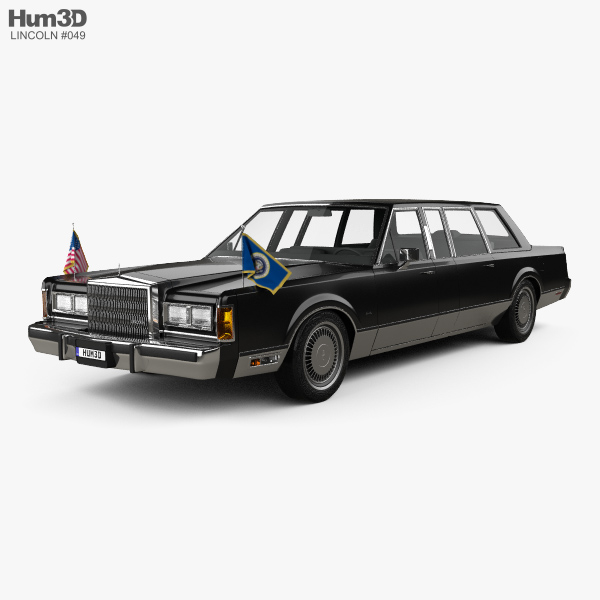 Lincoln Town Car Presidential Limousine 1989 3d Model Vehicles On