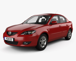 Mazda 3 sedan with HQ interior 2003 3D model