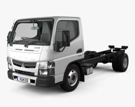 Mitsubishi Fuso Canter (515) City Single Cab Low Roof Chassis Truck with HQ interior 2016 3D model