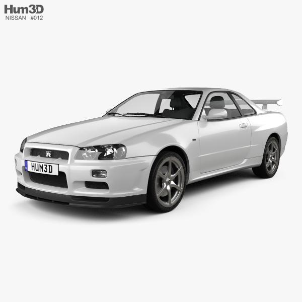 Nissan Skyline Gtr 1999 >> Nissan Skyline R34 Gt R Coupe 1999 3d Model Vehicles On Hum3d