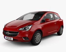 Opel Corsa (E) 3-door with HQ interior 2014 3D model