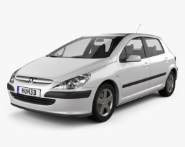 Peugeot 307 5-door hatchback 2001 3D model