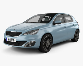 Peugeot 308 hatchback with HQ interior 2014 3D model
