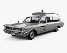 Pontiac Bonneville Station Wagon Ambulance Kennedy with HQ interior 1963 3D model