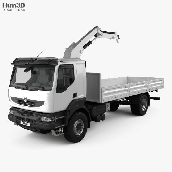 Renault Kerax Flatbed Crane 2011 3D model