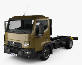 Renault D 7.5 Chassis Truck with HQ interior 2013 3D model