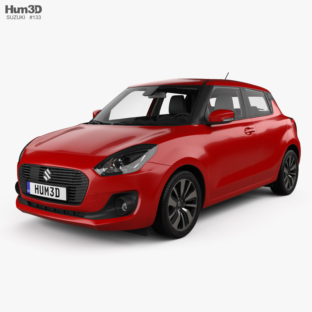 Suzuki Swift with HQ interior 2017 3d model