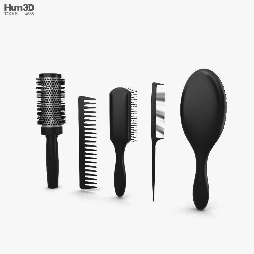 Hair Brush Set 3d model