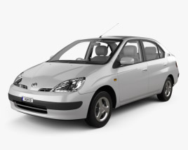 Toyota Prius JP-spec with HQ interior and Engine 1997 3D model