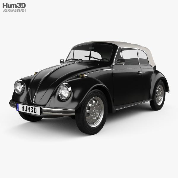 volkswagen beetle convertible 1975 3d model vehicles on. Black Bedroom Furniture Sets. Home Design Ideas