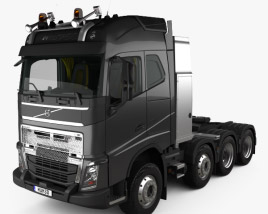 Volvo FH Globetrotter Cab Tractor Truck 4-axle with HQ interior 2014 3D model